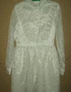 Biała koronkowa sukienka vintage retro 128 134 cm...