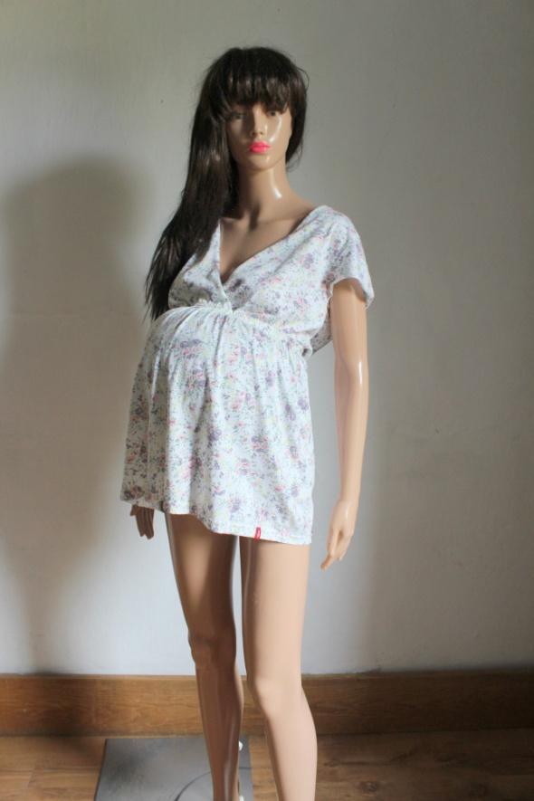 Biała tunika w kwiatki kopertowy dekolt idealna na ciążę r XL...