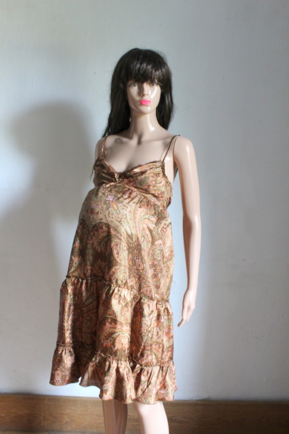 Brązowa sukienka we wzory styl boho midi idealna na ciążę r XS...