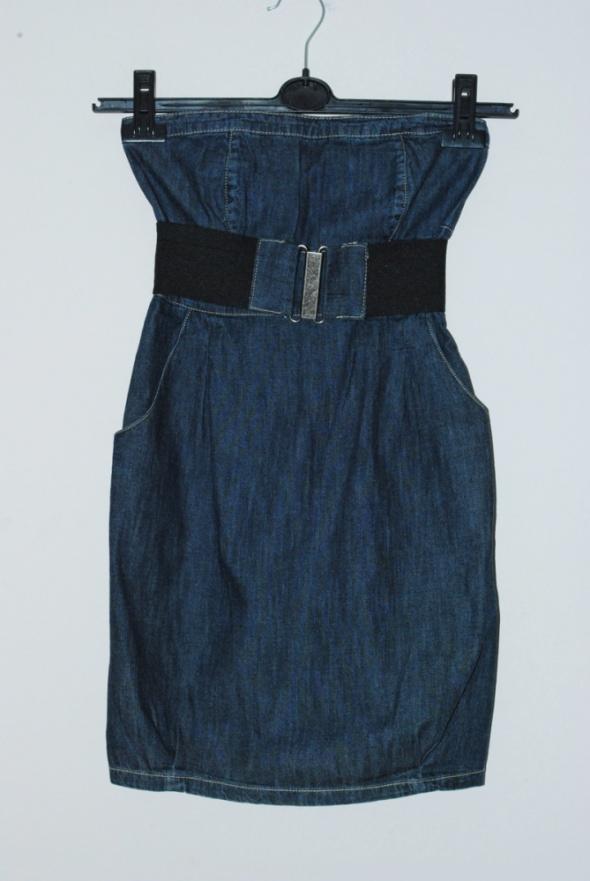 jeansowa sukienka z paskiem s...
