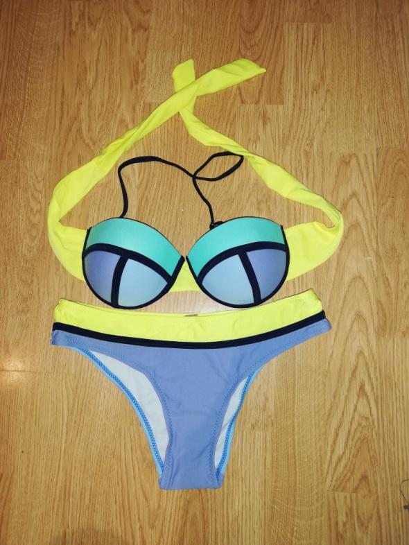 Nowy błękitno żółty strój kąpielowy S