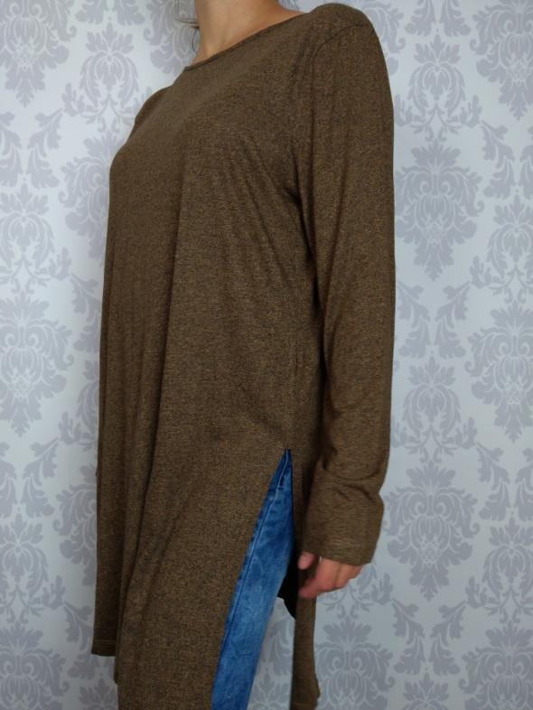 Długa bluzka klasyczna tunika z wiskozą brązowa TU