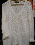 Biały sweterek RESERVED cyrkonie S oversize...