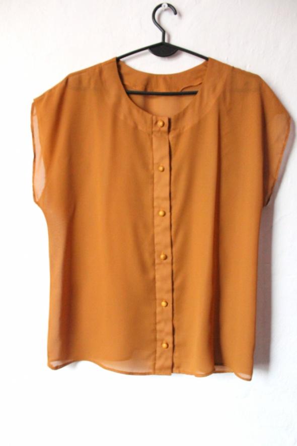 Musztardowa koszula bez rękawów zapinana na guziki r około M...