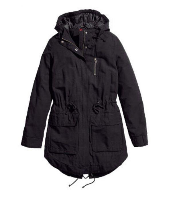 Czarna kurtka parka H&M 40 L