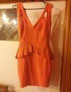 Pomarańczowa sexy sukienka mini dopasowana baskinka Lipsy S...