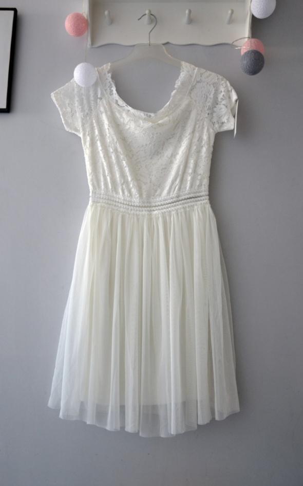 Nowa Biała koronkowa sukienka tiulowa mini hiszpanka