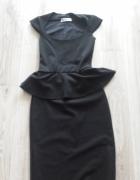 czarna elegancka sukienka baskinka...