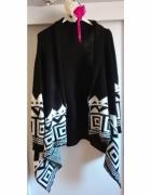 Czarnobiały sweterek czarny sweterek rozpinany sweter wzorki lu...