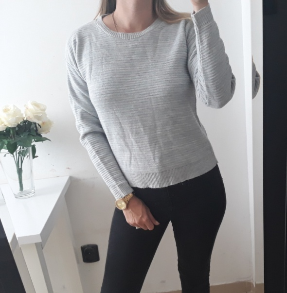 New look sweter szary melanż prazek S