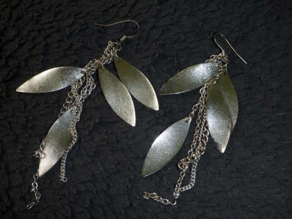 srebrne kolczyki pióra długie OPIA...