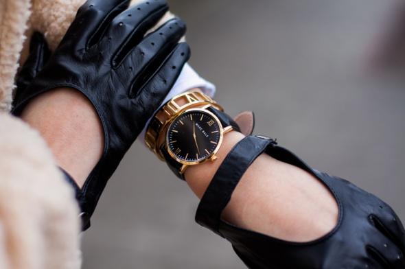 Czarny zegarek Marc Bale i czerwony pasek 2w1