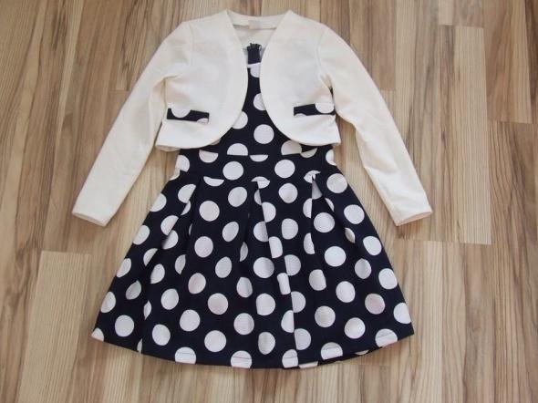 sukienka w grochy z bolerkiem rozmiar 140