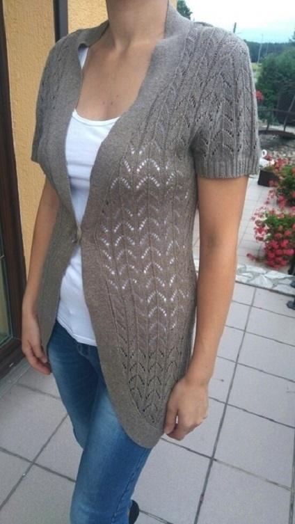 sweterek kardigan ażurkowy włoski s narzutka