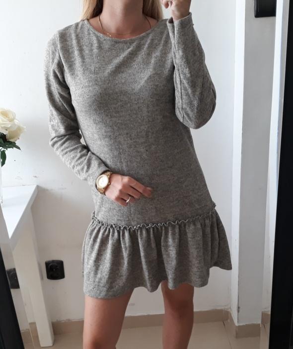 Sukienka szary melanż baskinka cieplejszy materiał M L