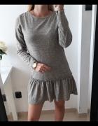 Sukienka szary melanż baskinka cieplejszy materiał M L...