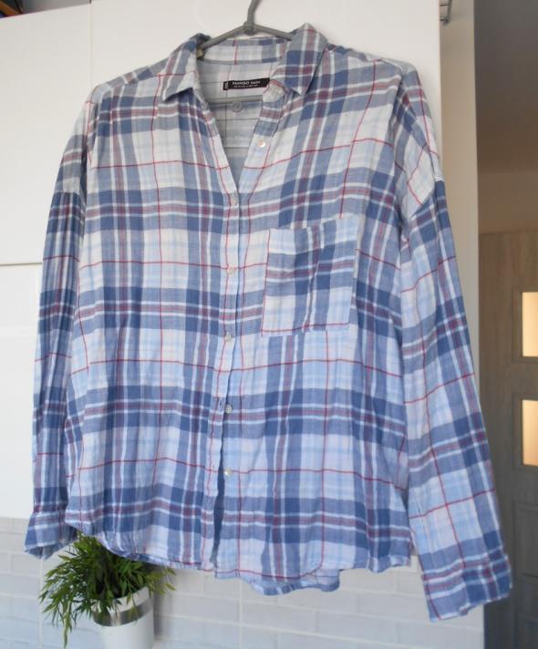 Mango koszula w kratę oversize baby blue luźna...
