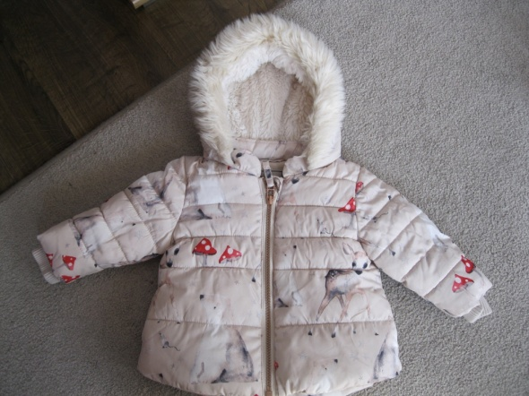 kurtka zimowa NEXT 68 74 beżowa sarenki