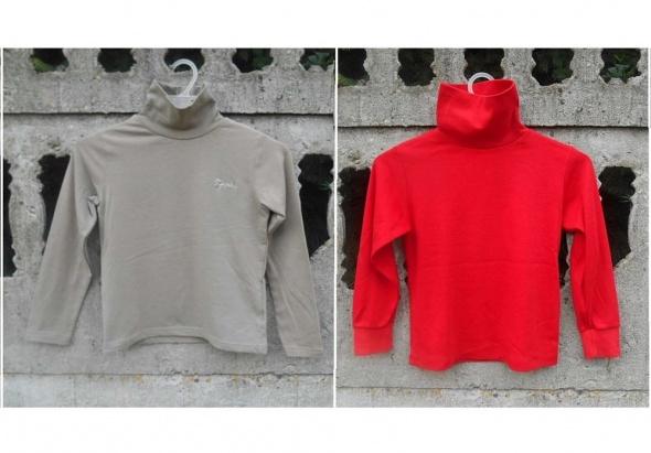 Golf sweter 122 128 na 7 8 lat beżowy i czerwony