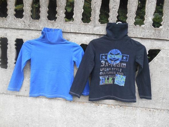 Sweter Golf 2 szt 122 128 niebieski i czarny Boy