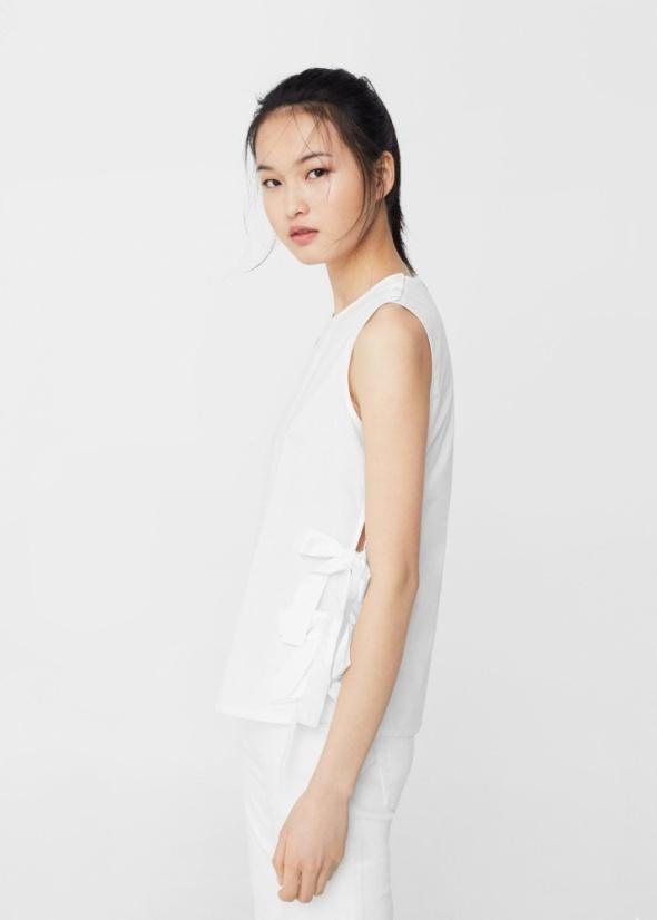 Mango nowa klasyczna biała bluzka kokardy po bokach XS...