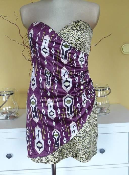 HM sukienka gorsetowa panterka koktajlowa nowa