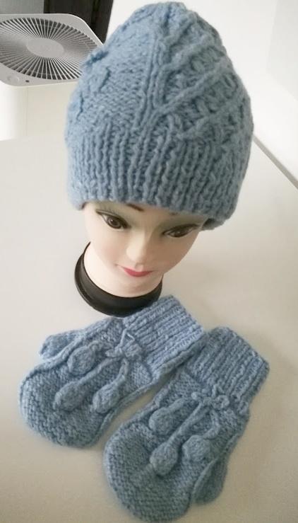 Komplet czapka i rękawiczki handmade NOWY akryl wełna...