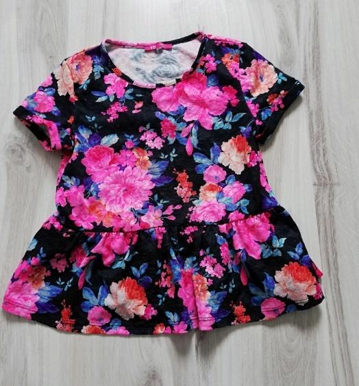 Śliczna bluzeczka YD kwiaty baskinka rozm 140