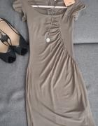 NOWA Beżowa sukienka XS S Bershka