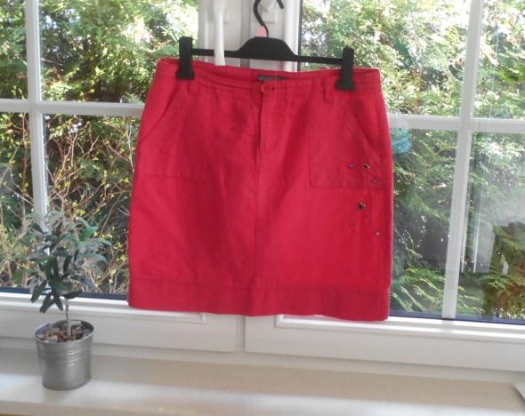 Greenpoint czerwona malinowa spódnica lniana len...