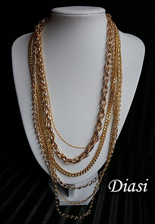 Długi złoty naszyjnik z 6 łańcuszków nowy...