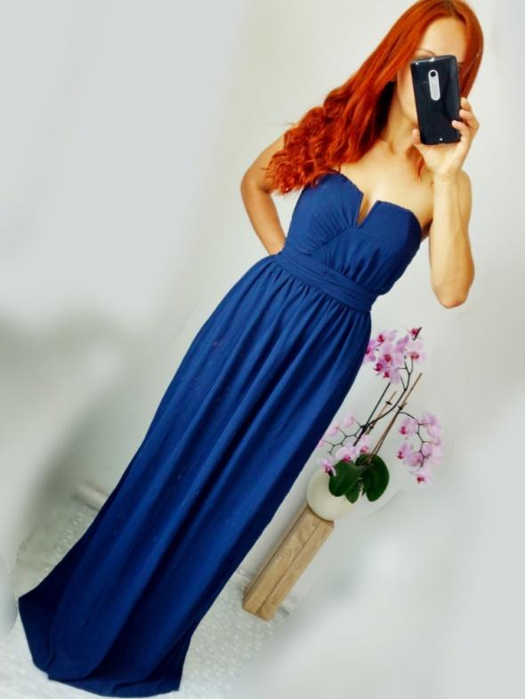 Navy blue suknia maxi gorsetowa TFNC London XS S