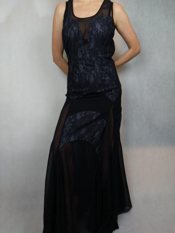 Czarna maxi wieczorowa elegancka suknia koronka ASOS...