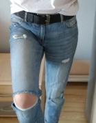 Jeansy boyfriend H&M 34 XS dziury przetarcia...
