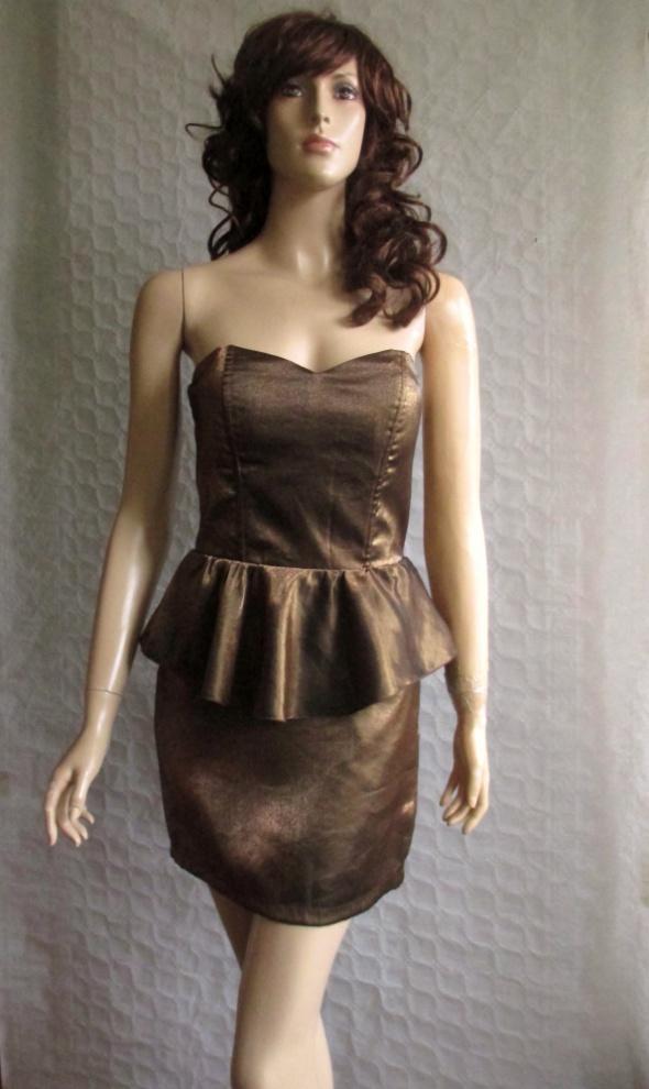 Bik Bok złota sukienka z baskinką 36...