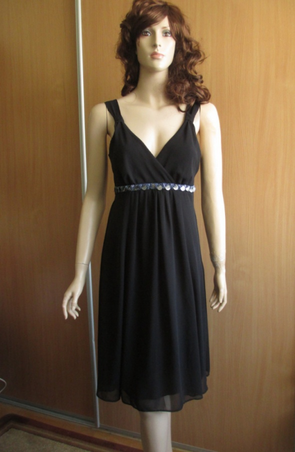 CAMAIEU czarna sukienka wieczorowa koraliki 38...