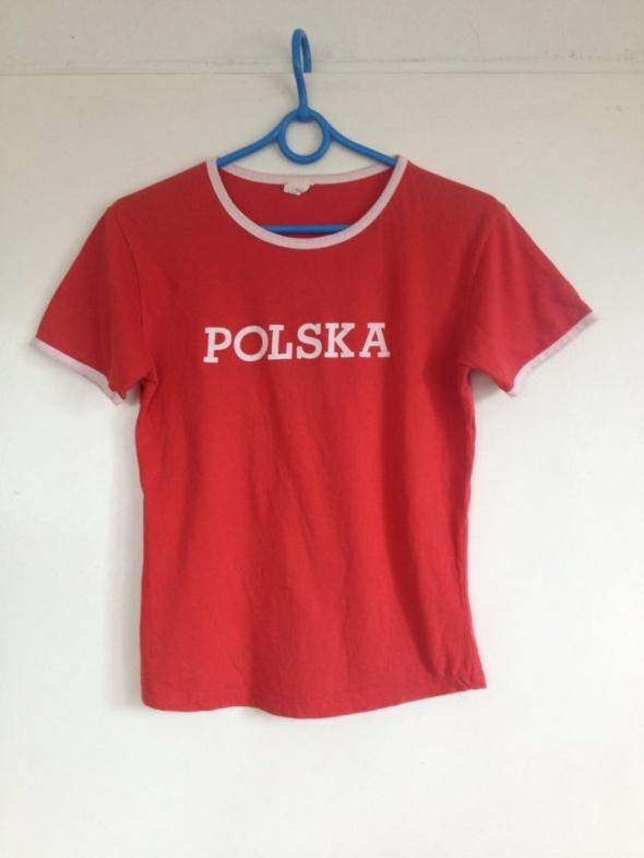 Polska patriotyczny koszulka napis nadruk czerwona biały XS S M 34 36 38 patriotyczna używana