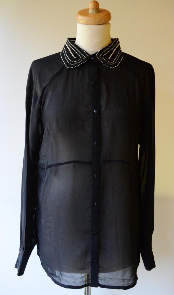 Koszula Bik Bok Czarna Koraliki L 40 Mgiełka Luzna