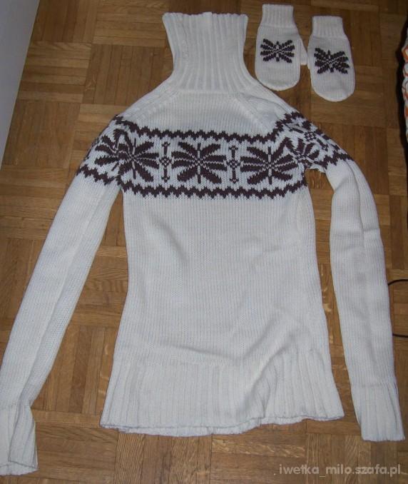 ciepły długi sweter z golfem i rękawiczkami