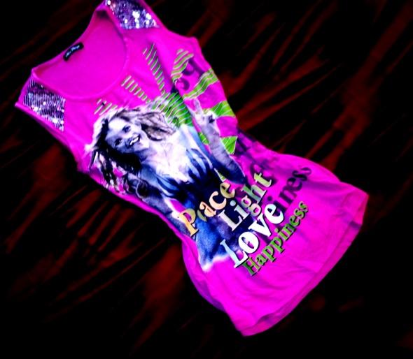 Różowa Long Bokserka Tunika Cekinki Print HIT