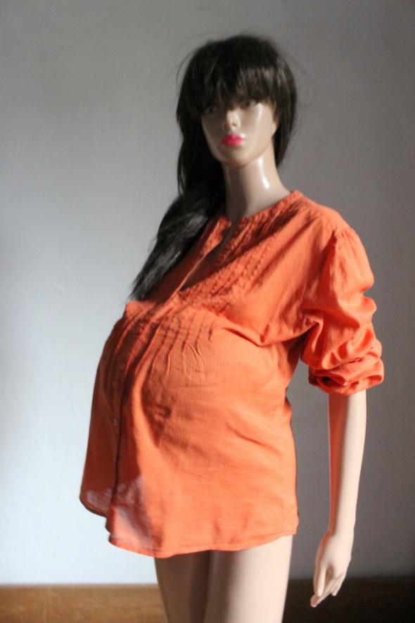 Pomarańczowa koszula w prążki idealna na ciążę r około M