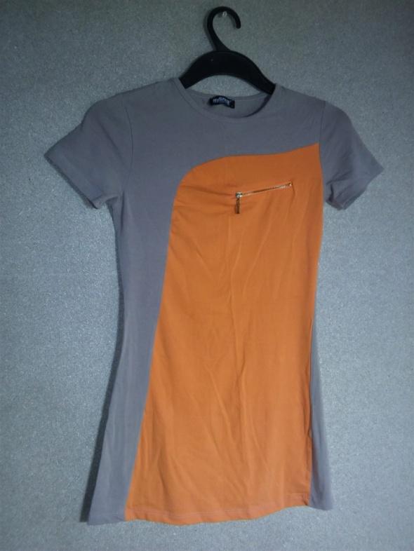 Beżowo pomarańczowa elastyczna tunika 36