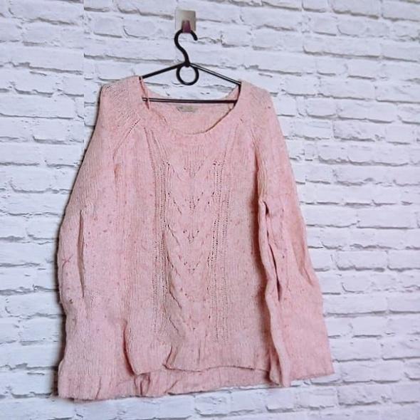 Pastelowy pudrowy róż sweterek splot warkocz piękny plus size BHS