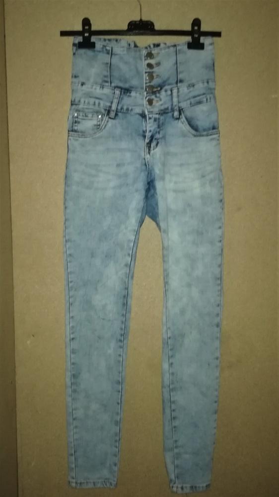 Jasnoniebieskie jeansy rurki wysoki stan 36