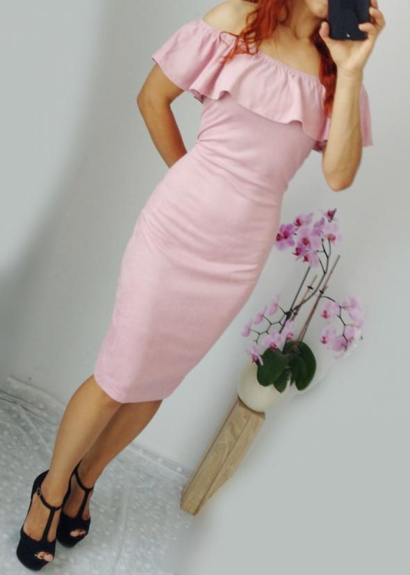 Nowa sukienka zamszowa zgaszony pudrowy róż hiszpanka S M