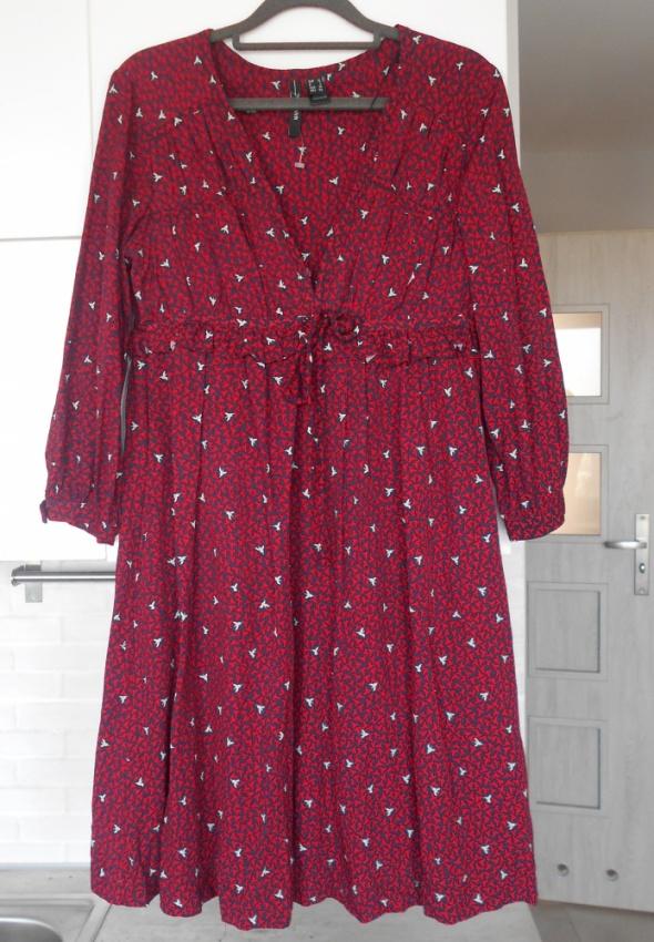 Mango nowa retro sukienka ptaki kolibry wzory