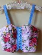 Crop top gorset floral piękny M pin up...