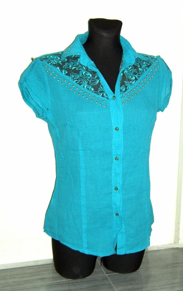 turkusowa koszula dżety koronka