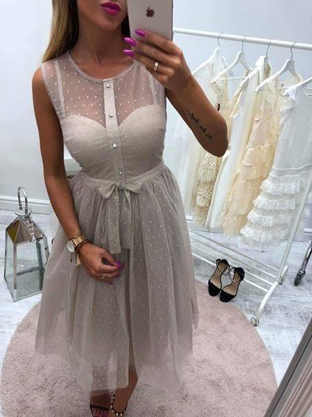 sukienka tiulowa beż midi s