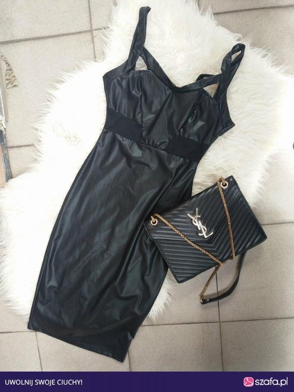 sukienka czarna midi skórzana Xs S